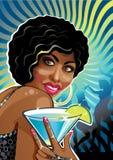 Portret śmieszna oliwkowa kobieta przy przyjęciem. Illustrat Ilustracji