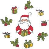Portret Święty Mikołaj i prezenty royalty ilustracja