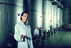 Portret żeński pracownik wytwórnii win pracownik Zdjęcie Stock