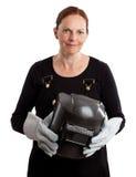 Portret żeński spawacz odizolowywający na bielu Fotografia Royalty Free
