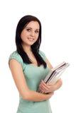 Portret żeński uczeń z książkami. zdjęcie royalty free