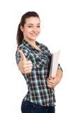 Portret żeński uczeń z książkami zdjęcia royalty free