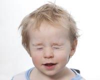 Portret滑稽的小小孩金发碧眼的女人男孩 库存图片