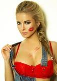 Portret ładna blondynki dziewczyna. Obraz Royalty Free