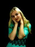Portret ładna kobieta w zieleni sukni Obraz Stock