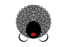Portret Afrykańskie kobiety, ciemnej skóry żeńska twarz z włosianym afro na odosobnionym tle Zdjęcie Royalty Free