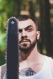 Portret agresywny mięśniowy męski lumberjack Obraz Royalty Free