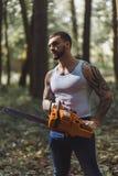 Portret agresywny mięśniowy męski lumberjack Zdjęcia Stock