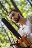 Portret agresywny mięśniowy męski lumberjack Obraz Stock