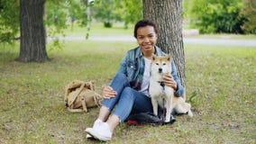 Portret amerykanin afrykańskiego pochodzenia dziewczyny właściciela kochający psi obsiadanie w parku na trawie z jej pięknym zwie zbiory wideo