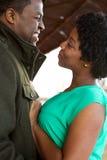 Portret amerykanin afrykańskiego pochodzenia kochająca para Fotografia Stock