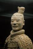 Portret antique chinois de guerrier de terre cuite. images libres de droits