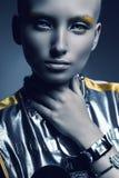 Portret astronautyczna kobieta z białymi oczami Zdjęcia Stock