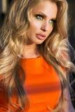 Portret atrakcyjna blondynki dama. Zdjęcia Royalty Free