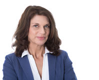 Portret atrakcyjna i szczęśliwa biznesowa kobieta odizolowywająca na wh Zdjęcie Royalty Free