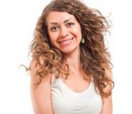 Portret atrakcyjna uśmiechnięta kobieta odizolowywająca Zdjęcie Stock