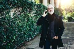 Portret atrakcyjny dorosły biznesmen opowiada na jego smartphone podczas gdy chodzący w miasto parku Horyzontalny, zamazany Zdjęcie Royalty Free