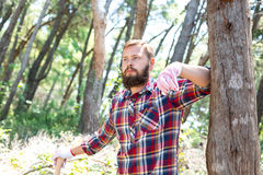 Portret atrakcyjny młody lumberjack obraz stock