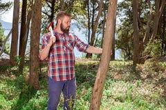 Portret atrakcyjny młody lumberjack obrazy stock