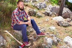 Portret atrakcyjny młody lumberjack obraz royalty free