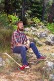 Portret atrakcyjny młody lumberjack obrazy royalty free