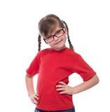 Portret av bärande exponeringsglas för liten gullig flicka Arkivfoto