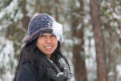 Portret Azjatycka kobieta z kapeluszem obrazy royalty free