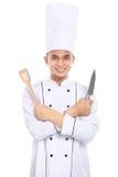 Portret azjatykci szefa kuchni ono uśmiecha się Zdjęcia Stock
