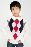 Portret azjatykcia śliczna chłopiec z uśmiech twarzą Zdjęcia Stock