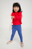 Portret azjatykcia śliczna dziewczyna z uśmiech twarzą Zdjęcie Stock