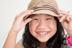 Portret azjatykcia śliczna dziewczyna z uśmiech twarzą Fotografia Royalty Free