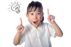Portret azjatykcia mała dziewczynka ma pomysł odizolowywającego zdjęcia royalty free