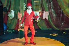 Portret błazen w czerwonym kapeluszu i kostiumu, macha jego rękę zdjęcia stock