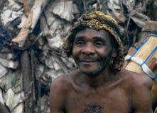 Portret Baka pigmeja plemienia szef w Dja rezerwie, Cameroon Zdjęcie Royalty Free