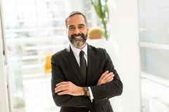 Portret of bearded handsome businessman. In office Stock Photos