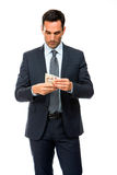 portret biznesmena odliczający pieniądze Zdjęcie Stock