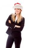 Portret bizneswoman jest ubranym Santa kapelusz zdjęcia royalty free