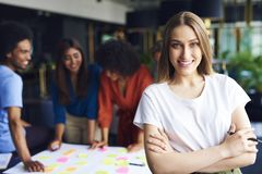 Portret bizneswoman kieruje spotkania obrazy stock