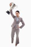 Portret bizneswoman pokazywać filiżankę Obrazy Royalty Free