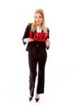 Portret bizneswoman trzyma czerwonego miłość tekst zdjęcie stock