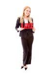 Portret bizneswoman trzyma czerwonego miłość tekst zdjęcie royalty free