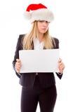 Portret bizneswoman trzyma pustego plakat zdjęcie stock