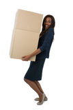 Portret bizneswomanu przewożenia kartony Zdjęcia Royalty Free