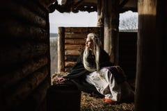 Portret blondynka Viking Zdjęcia Stock
