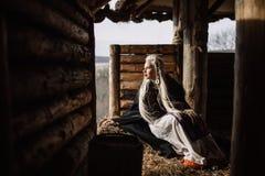Portret blondynka Viking Zdjęcie Royalty Free