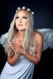 Portret blondynka w anioła kostiumu Fotografia Royalty Free