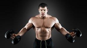 Portret bodybuilder z dumbbells Zdjęcia Stock