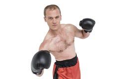 Portret boksera spełniania bokserska postawa zdjęcie stock