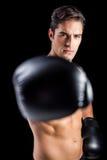 Portret boksera spełniania bokserska postawa zdjęcia royalty free
