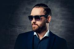 Portret brodata samiec w okularach przeciwsłonecznych i przebijanie w nosie Zdjęcie Stock